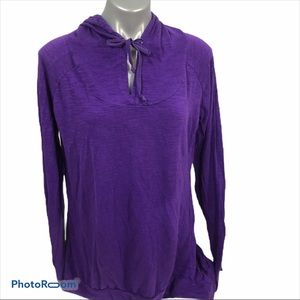 Earth Yoga purple hooded sweatshirt, EUC
